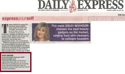 Daily Express jan 13 acne treatment